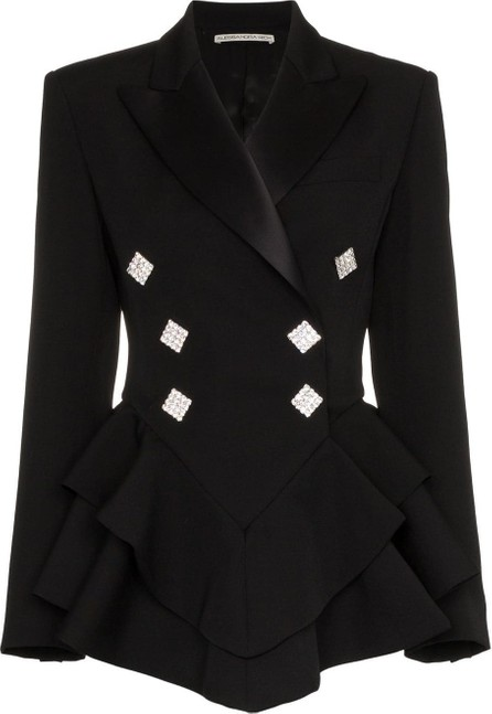 Alessandra Rich Ruffle crystal button wool tuxedo jacket