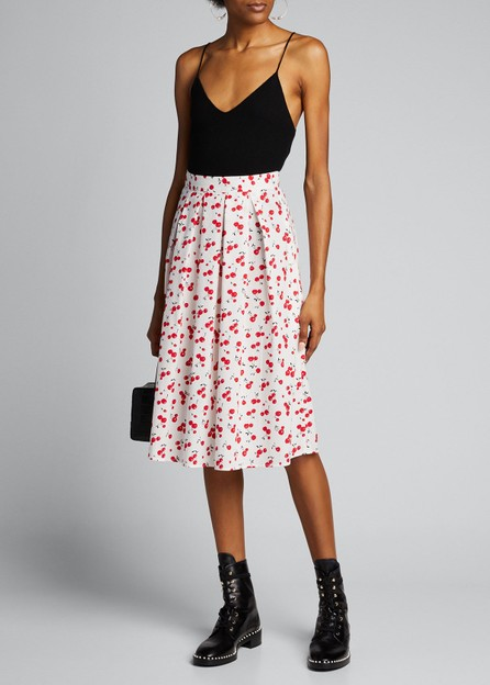 HVN Hope Cherry-Print Pleated Cotton Skirt