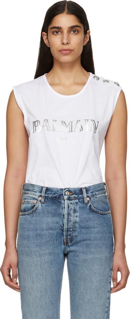 Balmain White Buttoned Logo Sleeveless T-Shirt