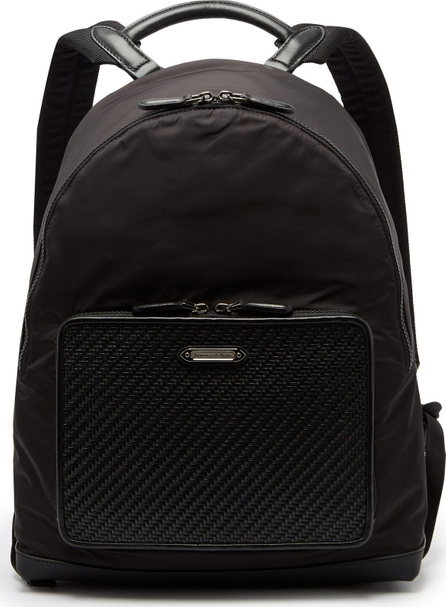 Ermenegildo Zegna Front-pocket nylon and leather backpack