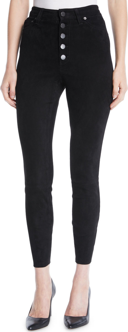 Alice + Olivia Mikah High-Rise Suede Skinny-Leg Pants