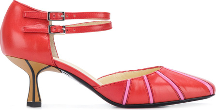 Marni Striped square toe Mary Jane pumps