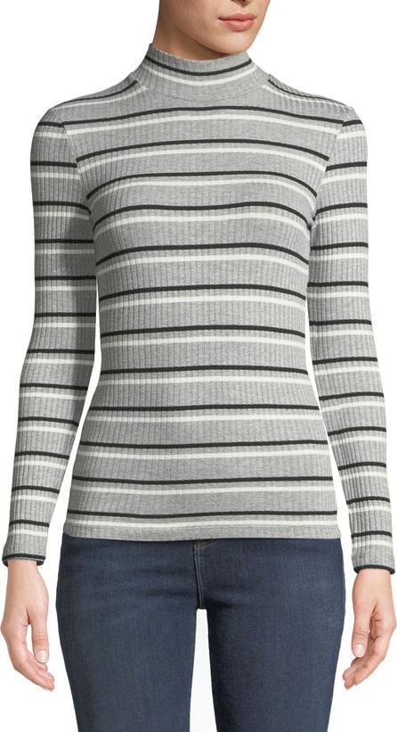 FRAME DENIM Turtleneck 70's Inspired Striped Ribbed Sweater