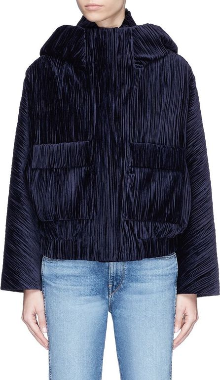 FFIXXED STUDIOS 'Home' plissé pleated velvet hooded bomber jacket