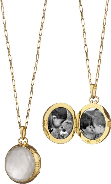Monica Rich Kosann Gold Rock Crystal Mother-of-Pearl Petite Locket Necklace