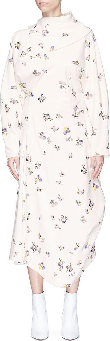 Acne Studios 'Dragica PR' scarf collar floral print corduroy maxi dress