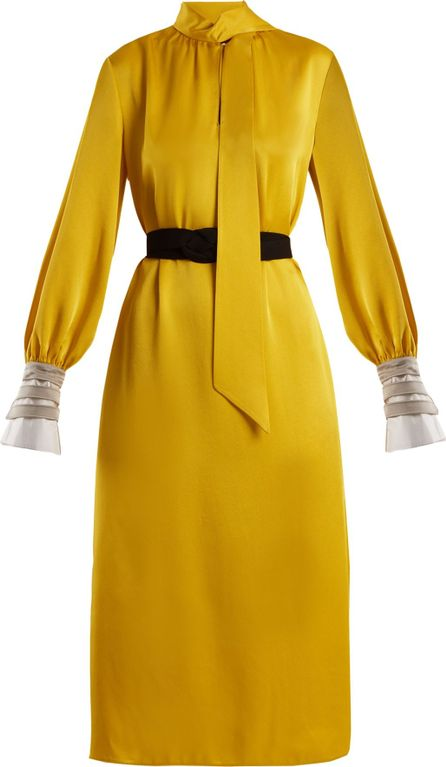 Fendi Abito high-neck satin cady midi dress