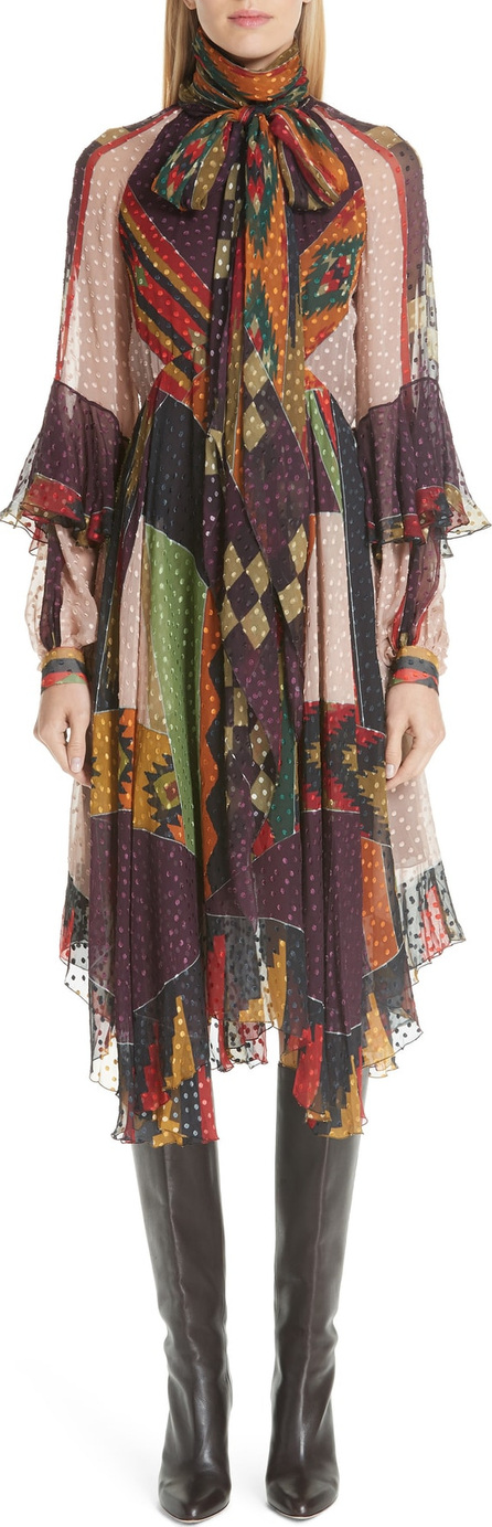 Etro Print Silk Blend Midi Dress with Removable Scarf