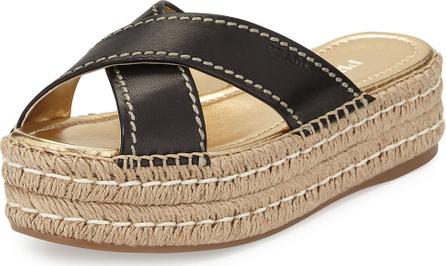 Prada Leather Crisscross Espadrille Slide Sandal