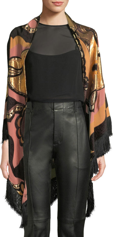 Etro Metallic Paisley Evening Wrap w/ Fringe Trim