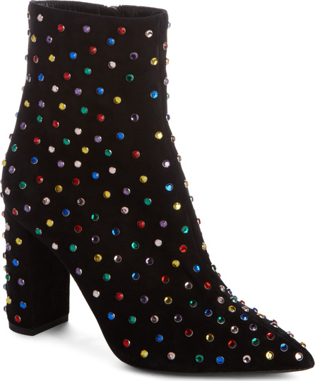 Saint Laurent Betty Crystal Stud Pointy Toe Bootie