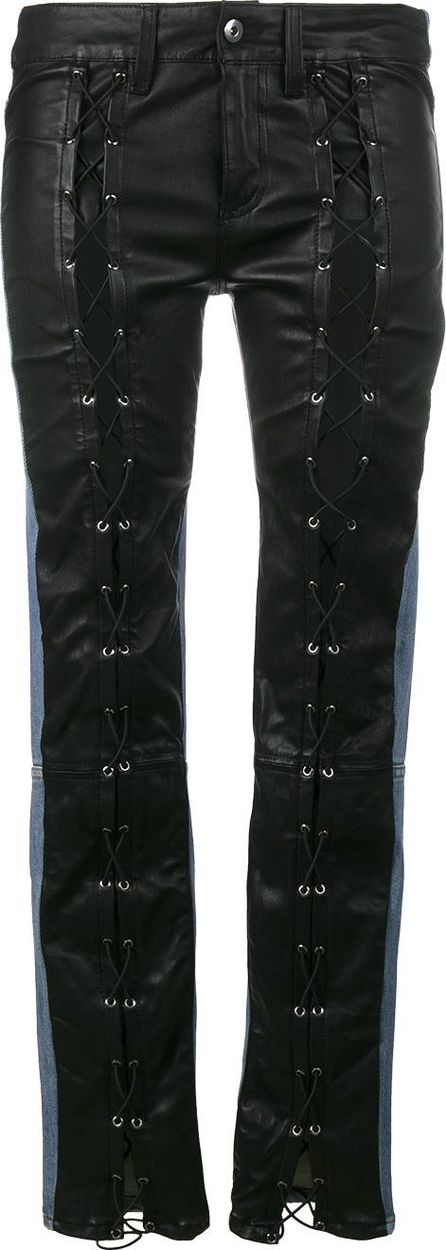 Filles A Papa leather front mid rise skinny jeans
