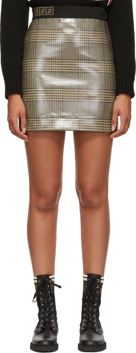 Fendi Tan 'Forever Fendi' Plaid Skirt