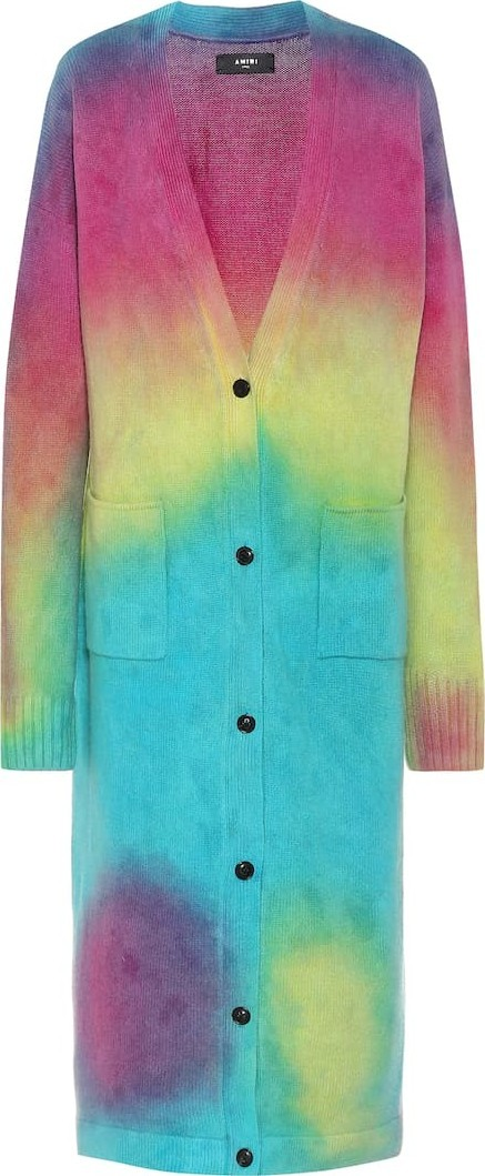Amiri Tie-dye cashmere and wool cardigan