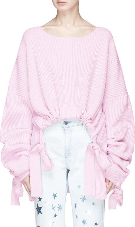 Stella McCartney Drawstring ruched cashmere-wool sweater