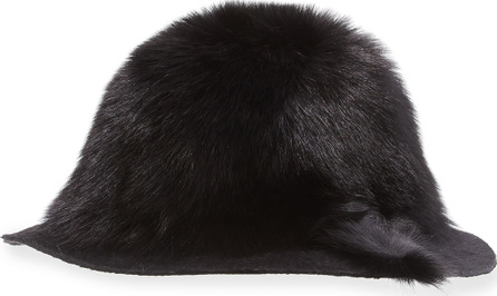 Gigi Burris Arden Fox-Fur Wide-Brim Hat, Black