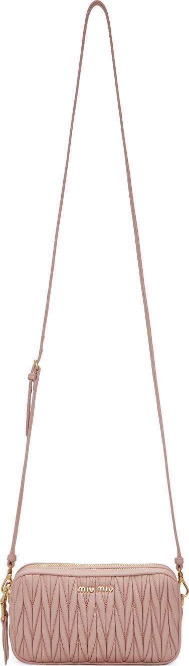Miu Miu Pink Double Zip Matelassé Crossbody Bag