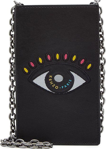 KENZO Embroidered Leather Shoulder Bag