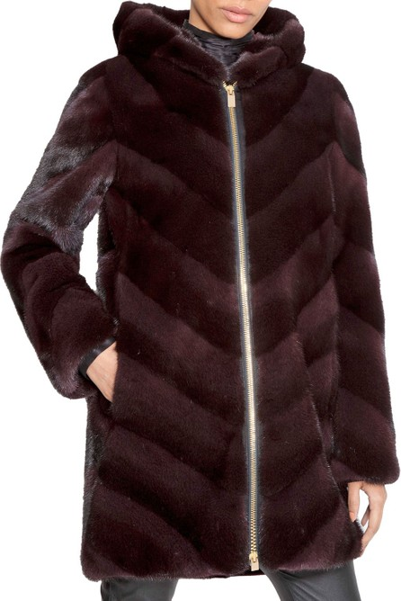 Norman Ambrose Chevron-Quilted Hooded Fur Zip Parka