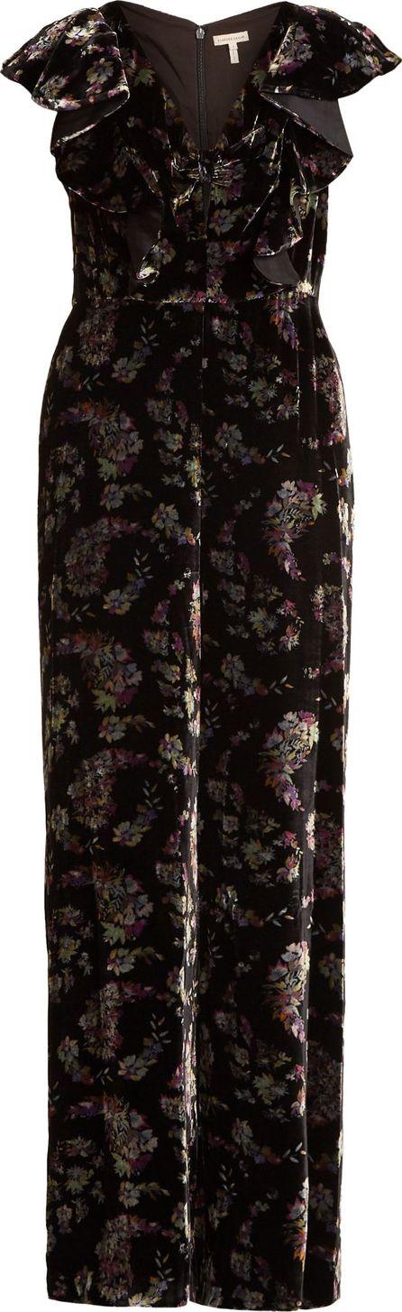 Rebecca Taylor Jewel wide-leg floral-print velvet jumpsuit