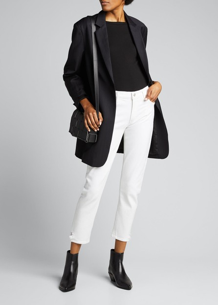 Agolde Toni White Mid-Rise Slim Straight Jeans