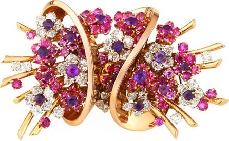 Hays Worthington Vintage Mauboussin 18k Rose Gold Diamond, Sapphire & Amethyst Brooch