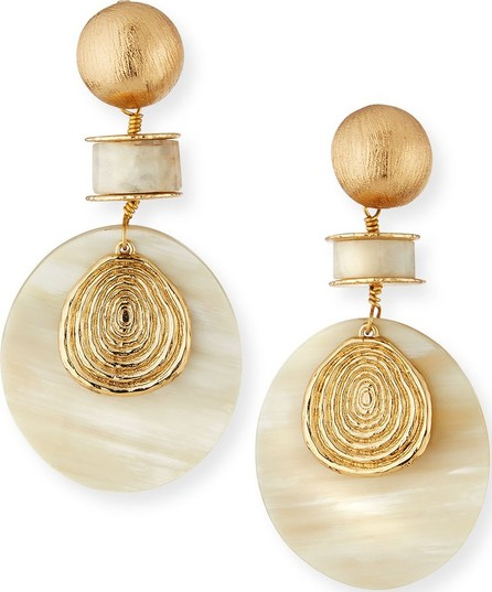 Akola Moonstone & Horn Drop Earrings, White