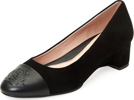 Taryn Rose Babe Napa-Capped Suede Ballet Pumps