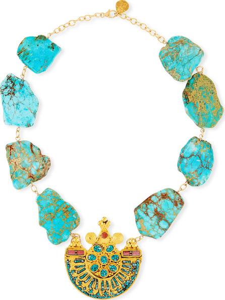 Devon Leigh Turquoise Slab Pendant Necklace
