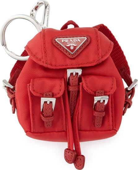 Prada Vela Backpack-Shaped Handbag Charm/Keychain, Red (Rosso)