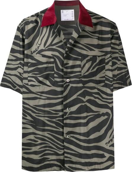 Sacai Contrast collar tiger-print shirt