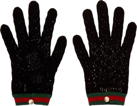 Gucci Black Crochet Gloves