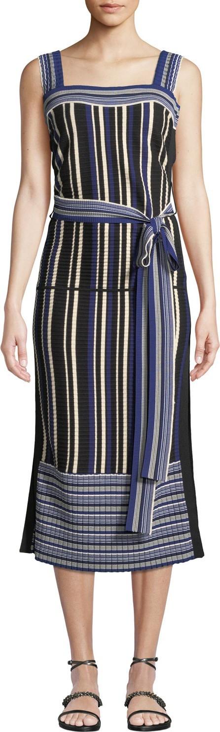 3.1 Phillip Lim Striped Tie-Front Sleeveless Midi Dress