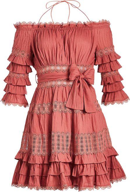 Zimmermann Corsair Frill Tier Cotton Mini Dress