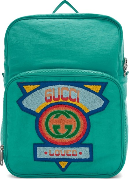 Gucci Blue Medium 80's Logo Patch Backpack