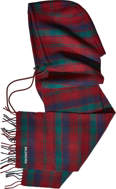 Balenciaga Tartan Wool Hood and Scarf
