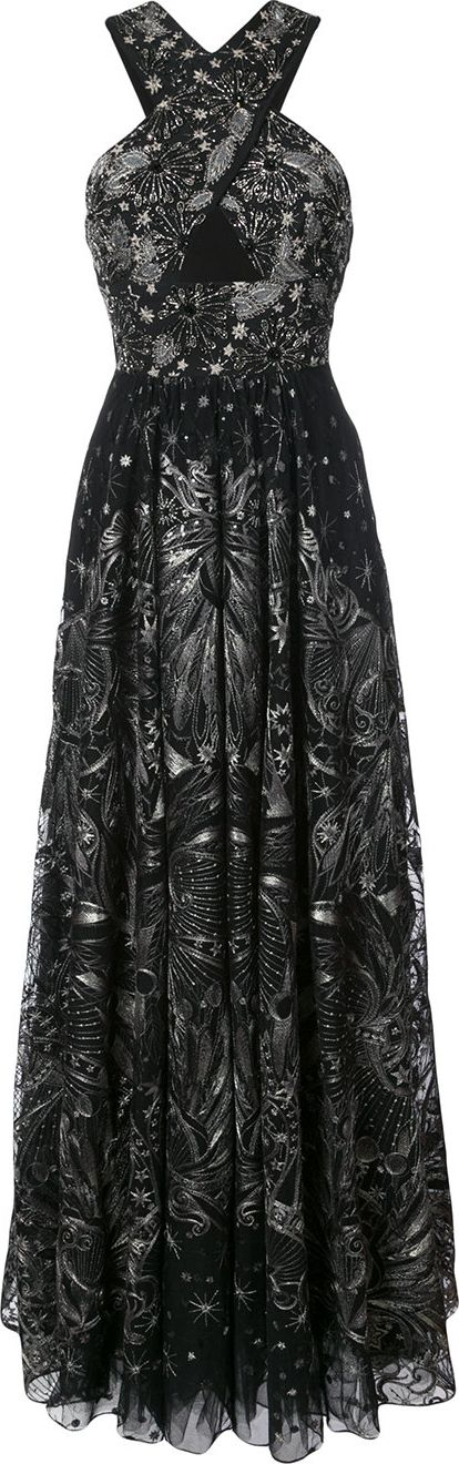Marchesa Notte - sequin embroidered crossover gown