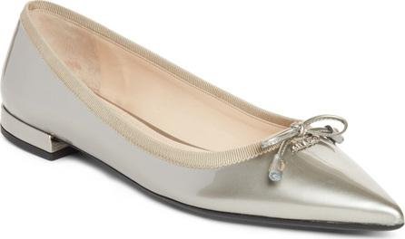 Prada Logo Pointy Toe Ballet Flat