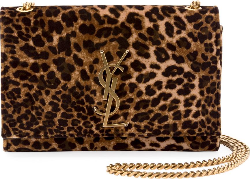 4a596ad2ca Saint Laurent Kate Monogram YSL Small Leopard-Print Velvet Crossbody ...
