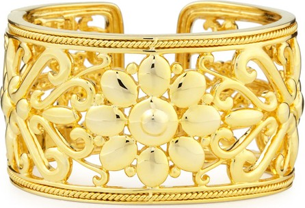 Eli Jewels Sunflower 18k Gold Hinged Cuff Bracelet