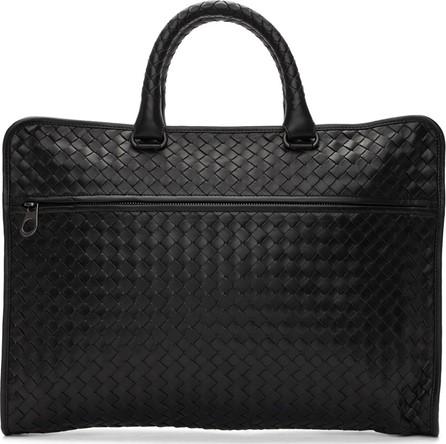 Bottega Veneta Black Intrecciato Classic Briefcase