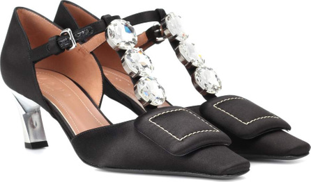 Marni Crystal-embellished satin pumps