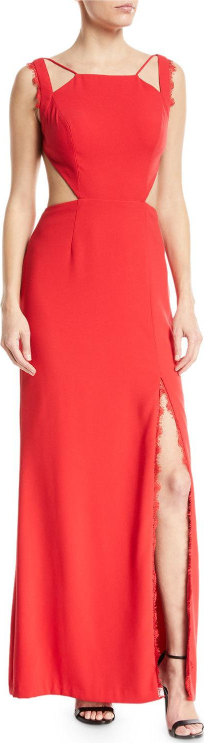 Aidan by Aidan Mattox Crepe Open-Back Lace Trim Gown