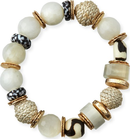 Akola Bone & Leather Stretch Bracelet, Black/White