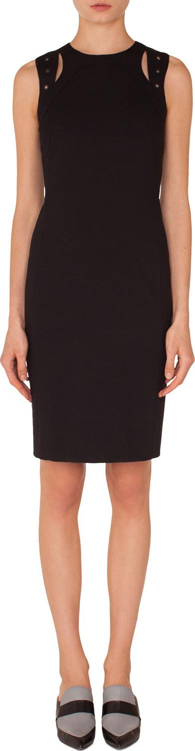 Akris Punto Sleeveless Cutout-Shoulder Knee-Length Jersey Sheath Dress