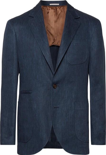 Brunello Cucinelli Storm-Blue Slim-Fit Mélange Linen Blazer