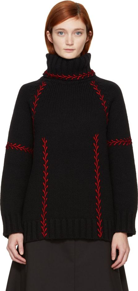 Alexander McQueen Black & Red Embroidered Cashmere Turtleneck