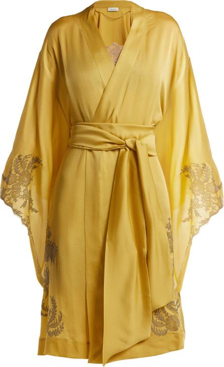 CARINE GILSON Lace-detailed silk-satin kimono robe
