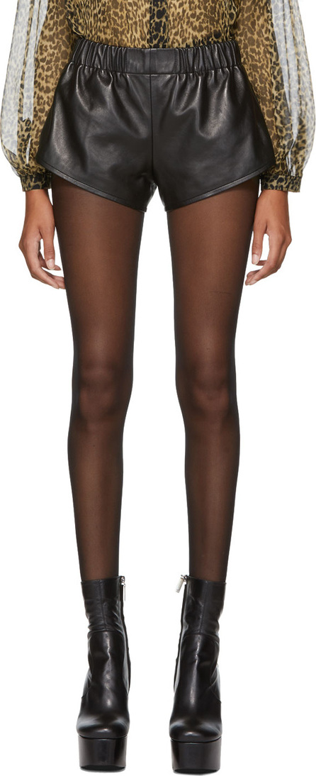 Saint Laurent Black Leather Mini Shorts