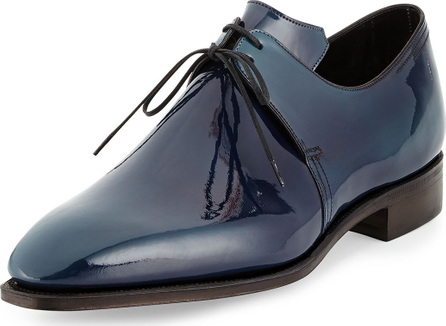 Corthay Arca Patent Leather Derby Shoe with Blue Patina, Navy